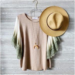 Mocha Crochet Dip Dye Ombre' Sleeve Tunic